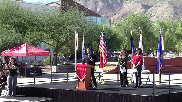 TRiO Vets Director giving speech during Veterans Day Ceremony at COD