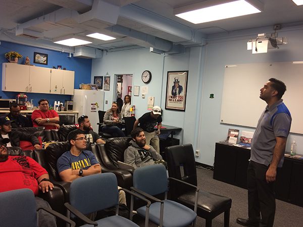 Students attending a presentation at the CSUSB Veterans Center