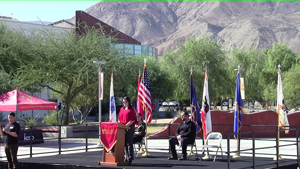 SVO Vice-President giving speech during Veterans Day Ceremony at COD