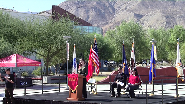 SVO President giving speech during Veterans Day Ceremony at COD